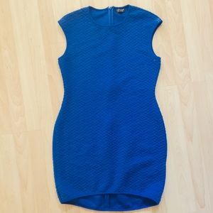 Topshop sleeveless quilted cobalt blue dress 12